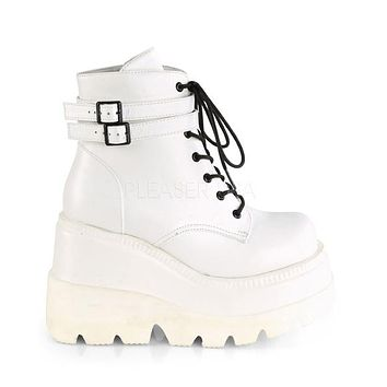 White Stacked Wedge Platform Ankle Boots
