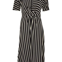 Striped Drape Midi Dress - Dresses - Clothing