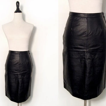 1980s Avon Fashions Black Leather Pencil Skirt