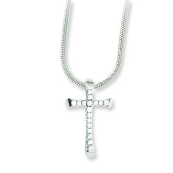 Sterling Silver & CZ Brilliant Embers Cross Necklace QMP782