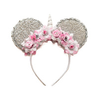 Unicorn Mouse Ears Headband, Unicorn Headband, Flower Mouse Ears, Minnie Ears Headband, Mickey Ears Headband, Bridal Mouse Ears