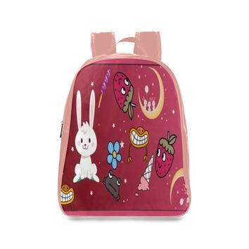 Funny Bunny Kid's Leather School Backpack (Dusty Rose)
