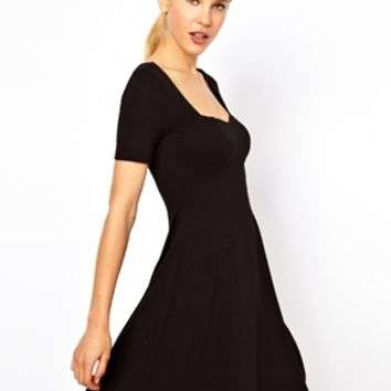 ASOS Skater Dress With Sweetheart Neck And Short Sleeves.