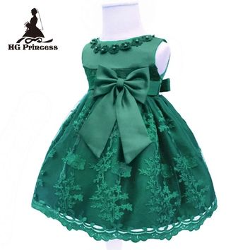 Free Shipping Cute Brand Infant Dresses 2017 New Baby Dress For 1 Year Girl Birthday  Lace Cotton Toddler Party Gown Dark Green