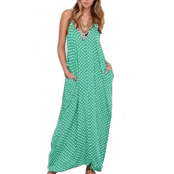 New Summer Dress Fashion Women Dress Strapless Polka Dot Loose Beach Long Maxi Dress Vintage Vestidos Plus Size -0331