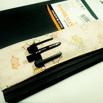 Cute Pigs stationery, journal pen holder book bandolier, plein air sketchbook tool, id205901 gift for artist writer, drawing storage