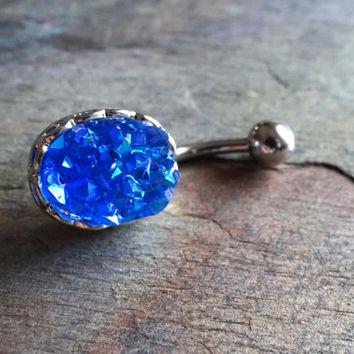 Druzy Jewelry Belly Button Rings Cobalt Blue Belly Button Jewelry