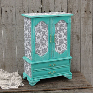 Jewelry Box, Jewelry Armoire, Shabby Chic, Tiffany Blue, Aqua, Grey, Hand Painted, Decoupage, Distressed, Large Jewelry Box
