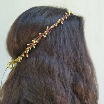 Gold Crown - Gold Flower Crown, Bridal Tiara, Bridal Hair Accessories, Wedding Hair, Bridal Flower Crown, Flower Girl Hair Wreath, Greek
