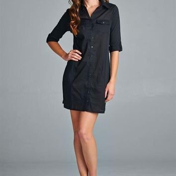 Classic Button Up Dress - Navy