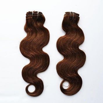 """18"""" 20"""" 22"""" 100g Indidan Remy Full Head Wavy Clip in  Extension #4 Dark Brown  Weaving Coffee Color Hair"""