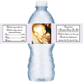 Sonogram Baby Shower Water Labels