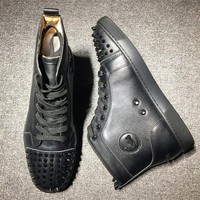 DCCK Cl Christian Louboutin Lou Spikes Style #2183 Sneakers Fashion Shoes