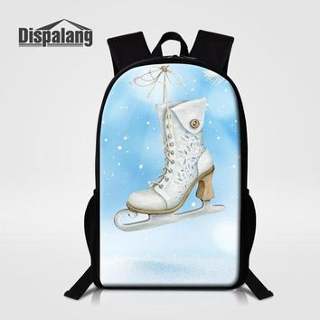 School Backpack trendy Dispalang Ice Skating Girl School Bag Light Weight Backpack 3D Printing Large  Child Casual Travel Shoulder Bag AT_54_4