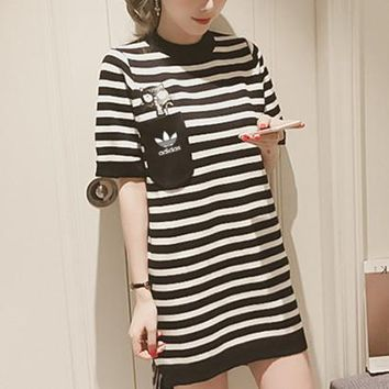 """Adidas"" Women Casual Fashion Multicolor Stripe Short Sleeve Mini Dress"