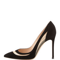 Gianvito Rossi Suede and Mesh Point-Toe Pump