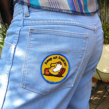 "Vintage Wrangler Denim Jeans with Groovy Vintage 70s ""Keep On Truckin"" Patch Size 36W x 30L"