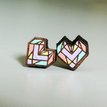 Cute Teak Wood Earrings with Hand Painting Heart Shape , Wooden Ear studs , mini 1 cm. Real Wood ear studs , 100 % Hand Painted Wood earing