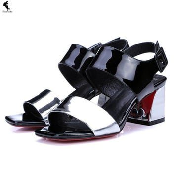Thick with sandals women shoes peep-toe luxury wedge thick with waterproof sequins shoe mid heel bright platform Summer pu sexy