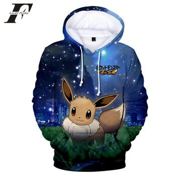 LUCKYFRIDAYF 2018  Game Pokemon Go Pikachu Eevee 3D oversized Hoodies sweatshirts Men/Women Kawaii Anime Harajuku Clothes 4xl