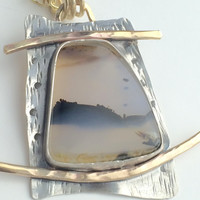 Montana Moss Agate with Brass and Sterling Silver Pendant