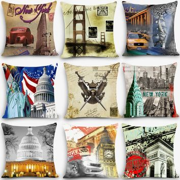 New arrival high quality cushion Euro scenic Print Home Decorativ Throw Pillow Vintage Cotton Linen Square Pillowcase MYJ-C9