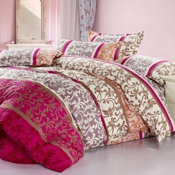 Floral and Swirls Pattern Ethnic Style Cotton Luxury 4-Piece Bedding Sets/Duvet Cover