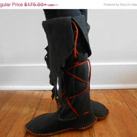 SALE Handmade, Hand Sewn Tall Moccasins, Boots, Native American, Custom Made by Oglala Lakota Artist, Hippie, Bohemian, Gypsy