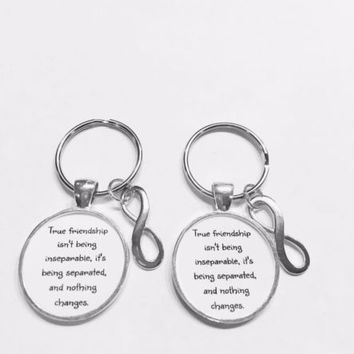 Best Friends True Friendship Long Distance Sisters Infinity Gift Keychain Set
