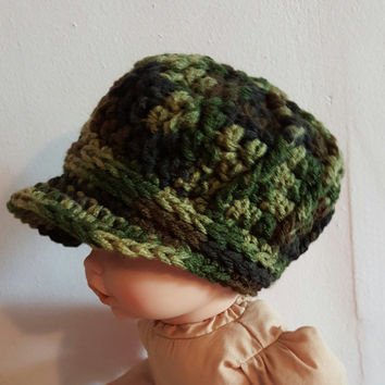 Camo Newsboys Hat Sizes 0 Months-8 Years. Crocheted. No Wool. Military. Handmade. Baby Gift.