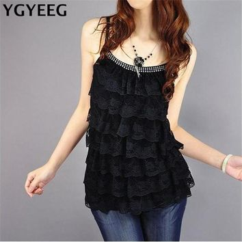 YGYEEG 2018 Sexy Multilayer Lace Women's Lady Tanks Tops Cotton Sleeveless Blouse Lace Vest T Shirt Camisole Singlets Shipping