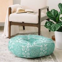Heather Dutton Plush Paisley SeaSpray Floor Pillow Round