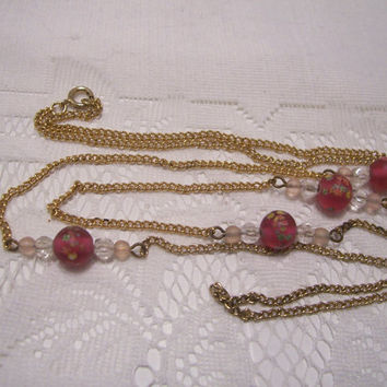 A Nice Vintage Long Gold Chain with Frosted Hand Painted Beads.