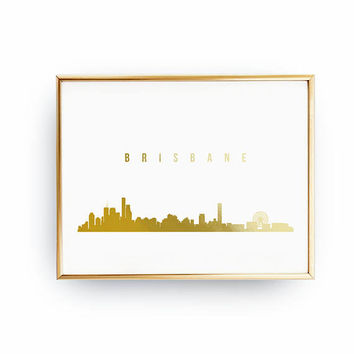 Brisbane Print, Brisbane Skyline, Real Gold Foil Print, Brisbane Cityscape, Gold Skyline Art, Home Decor, Australia Skyline, Australia Print