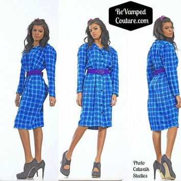 Adrianna Papell 100 silk sz 8 vintage blue geo checkered dress shiny purple teal black white button up career hip hop