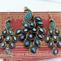 Blue precious stones peacock jewelry---earring and necklace SET