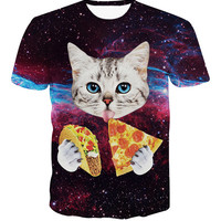 MultiColor Galaxy Cat Printed Short Sleeve T-Shirt