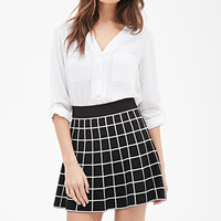 Flared Windowpane Skirt