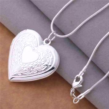ON SALE - Floral Design Stamped Silver Heart Locket Necklace