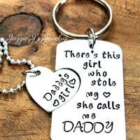 There's This Girl Who Stole My Heart She Calls Me Daddy Keychain & Necklace Set, Father's Day Gift, Daddys Daughter Gifts, Daddys Girl