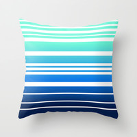 Bay Ombre Stripe: Mint Navy Throw Pillow by Eileen Paulino