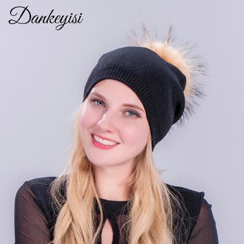 DANKEYISI Mink & Fox Fur Ball Cap Pom Poms Winter Cashmere Hat For Women Beanies Fur Pompon Hat Wool Kintted Female Skullies