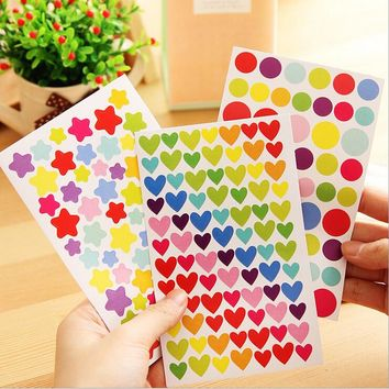 6Pcs/lot Korea Colorful Sticker Lovely  Paper Decorative Wall Decals Kid DIY Album Stickers Rainbow Sticker In The Diary