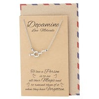 Lara Serotonin, Dopamine, Acetylcholine Molecule DNA Necklace, Science Jewelry with Greeting Card