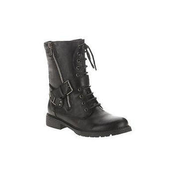 Momo Women's Contessa Moto Ankle Boot, 6.5, Black