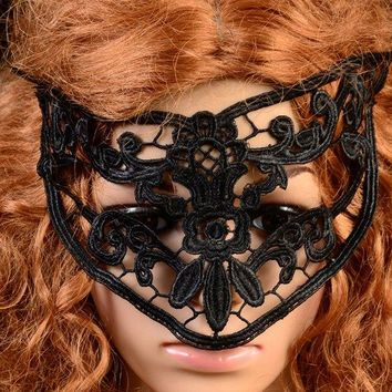 Vintage Flower Cat Eye Lace Party Mask