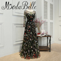 modabelle 2017 Sexy Floral Prom Dress Black Transparent Long Sleeve Embroidered Butterfly Flower Evening Dress Party Real Photo