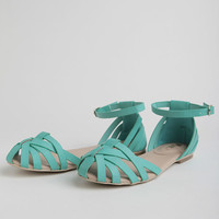 Brandy Woven Sandals In Mint