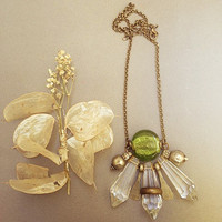 Green Murano Glass necklace with clear crystal prisms and vintage metalwork. Bohemian gypsy jewelry. Vintage tribal fusion necklace.