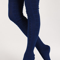Snowflake Knit Thigh High Socks